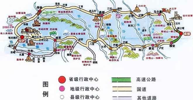 318国道川藏线旅游地图