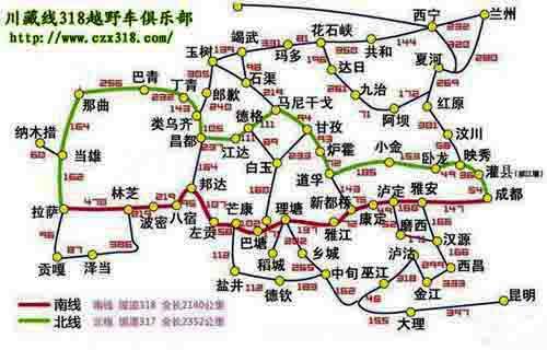 318国道川藏线旅游路线地图