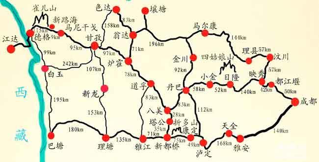 如果说西藏是中国境内一块秘境的话,那么川西就是四川境内的一块秘境了。在川西秘境深处,藏着众多著名的旅游景点。很多人选择走川西环线,将川西秘境的美景一次看个够。如果你喜欢自驾游,那么下面为您提供的川西自驾游线路地图,相信对你会很有帮助。 川西自驾游线路分为川西小环线和川西大环线,同时也是整个川藏线上一段美丽的风景线。 【川西小环线自驾游地图】  川西小环线自驾游地图 如图所示,川西小环线自驾游沿途包括了四川众多著名的旅游景点,比如说以低海拔现代冰川著称于世的海螺沟、情歌的故乡康定木格措、摄影家的天堂新都桥、