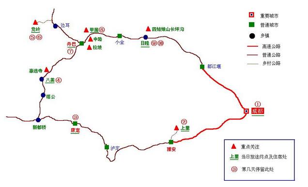 川西小环线地图一览