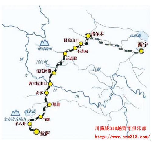 青藏线进藏旅游地图